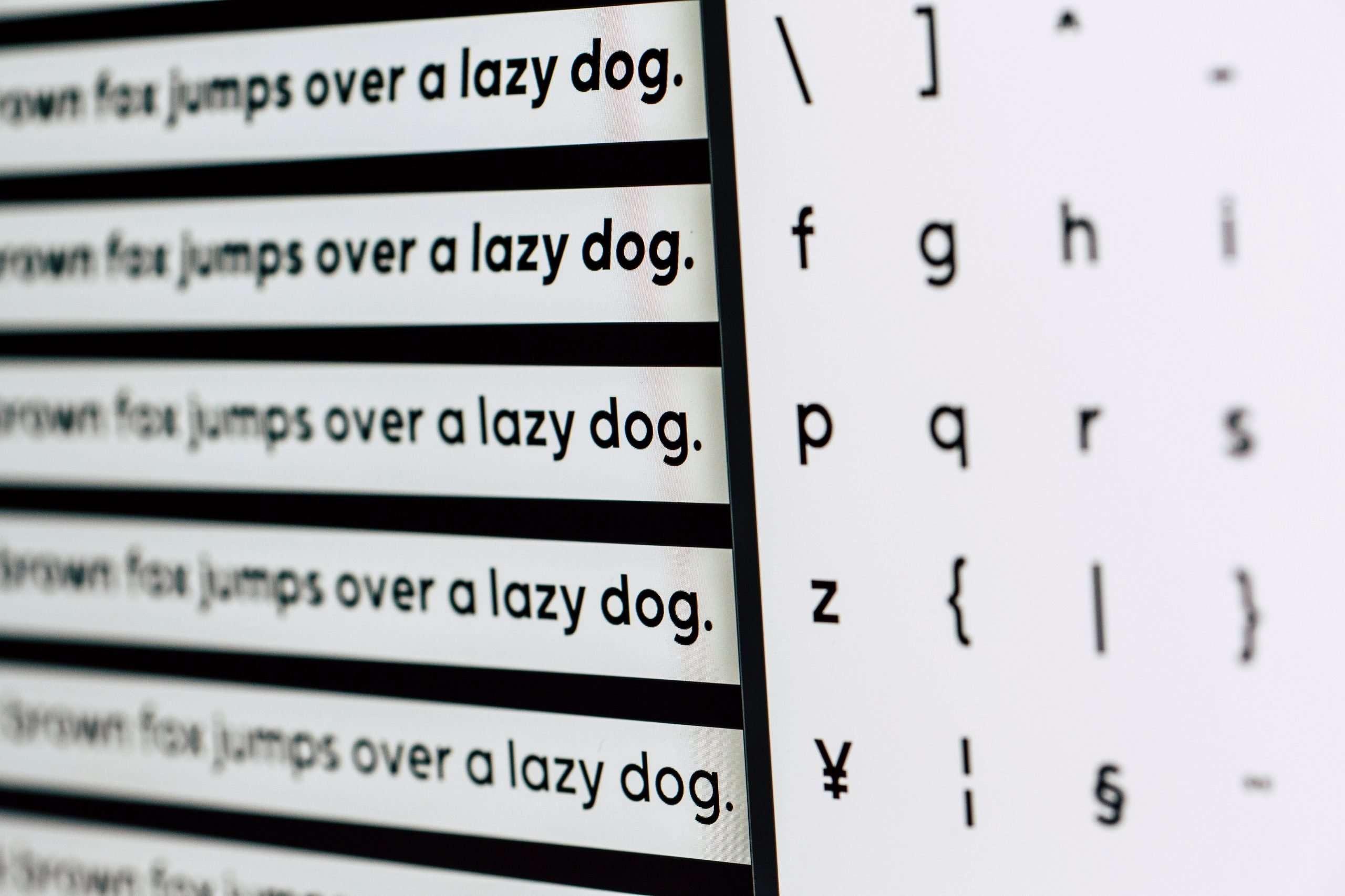 website font